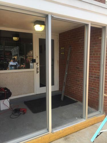 Commercial Glass Entryway - during