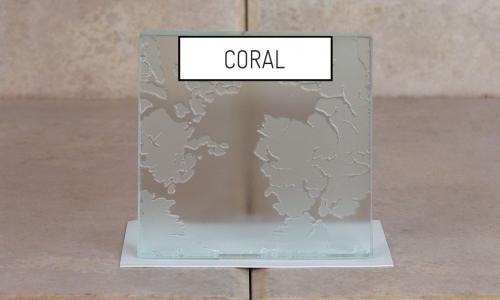 Browns Glass Shop Pattern Glass Shower Enclosure Cabinet Door - Coral