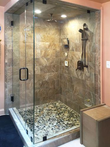 Brown's Glass Shop shower enclosure Bath brown-pink black clear FTC