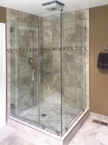 Brown's Glass Shop shower enclosure Bath gray-marble nickel clear