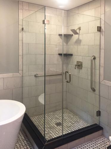 Brown's Glass Shop shower enclosure Bath gray nickel clear