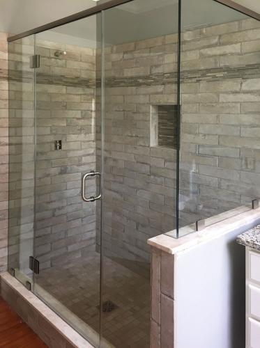Brown's Glass Shop shower enclosure Bath gray-stone nickel clear framed