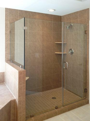 Brown's Glass Shop shower enclosure Bath khaki nickel clear