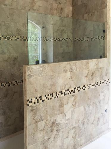 Brown's Glass Shop shower enclosure Bath marble clear custom-panel