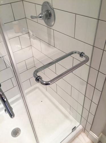 Brown's Glass Shop shower enclosure Bath nickel hardware