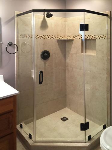 Brown's Glass Shop shower enclosure Bath off-white black clear framed