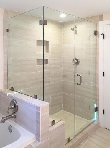 Brown's Glass Shop shower enclosure Bath off-white-marble nickel clear