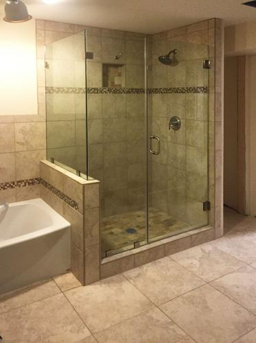 Brown's Glass Shop shower enclosure Bath rose-beige nickel clear