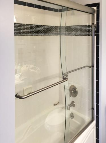 Brown's Glass Shop shower enclosure Bath white-black nickel clear custom-cut framed