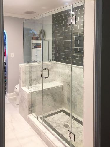Brown's Glass Shop shower enclosure Bath white-dark-gray nickel clear