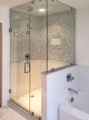 Brown's Glass Shop shower enclosure Bath white-gray nickel clear FTC