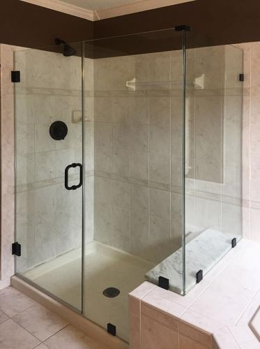 Brown's Glass Shop shower enclosure Bath white-marble-brown black clear
