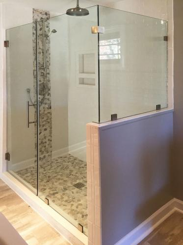 Brown's Glass Shop shower enclosure Bath-white-pink-nickel-clear